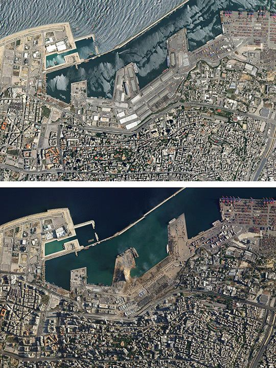 A combo of satellite images of the port of Beirut and the surrounding area in Lebanon, top, taken on May 31, 2020 and the bottom taken on Wednesday Aug. 5, 2020 that shows the destruction following a massive blast on Tuesday.