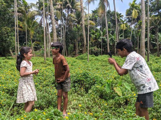 Child actors Ansu Maria Thomas, Vasudev S Marar, Suryadev S Marar in Kalla Nottam (2)-1596606776049