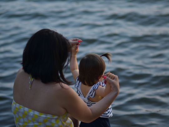 Mother child in the sea