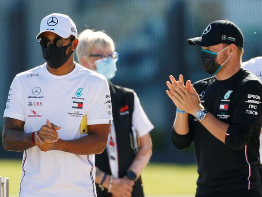 Mercedes drivers Lewis Hamilton and Valtteri Bottas at Silverstone