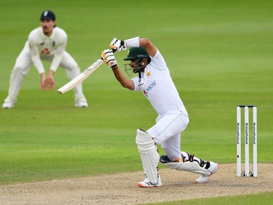 Pakistan's Babar Azam bats during the first day of the first cricket Test match against England at Old Trafford in Manchester, on August 5, 2020.