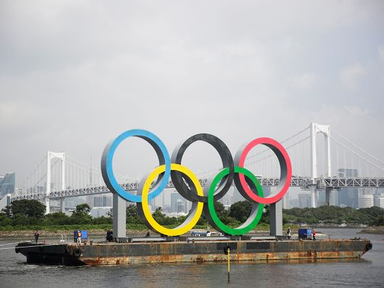 The Olympic rings in Tokyo Bay