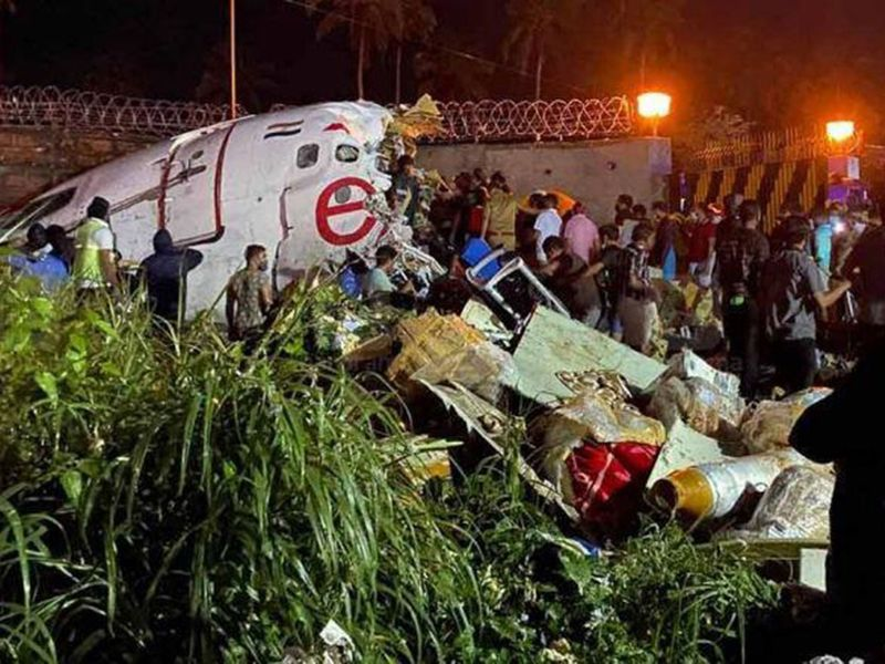 Kerala, Aug 07 (ANI): Visuals from the Karipur Airport, after Dubai-Kozhikode Air India flight (IX-1344) with 190 people onboard skidded during landing at the airport, in Karipur on Friday. (ANI Photo)