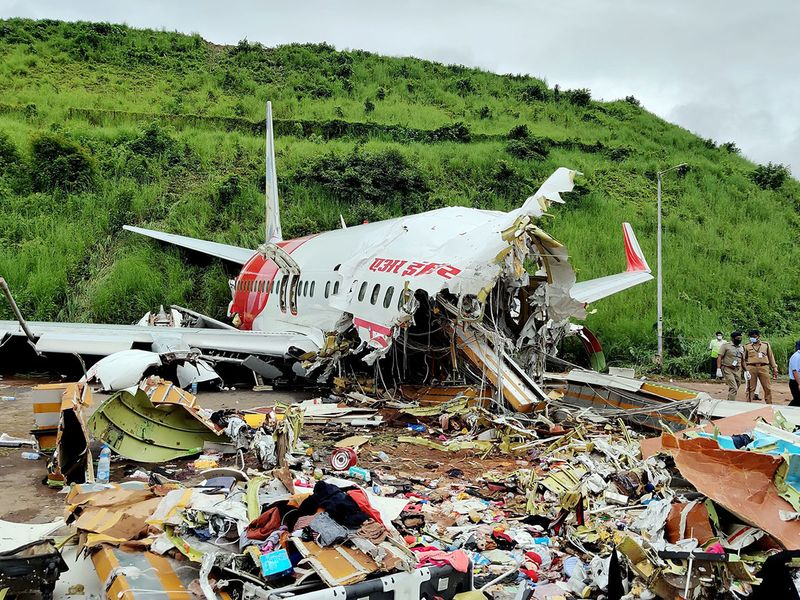 Wreckage of Air India Express flight at Kozhikode International Airport