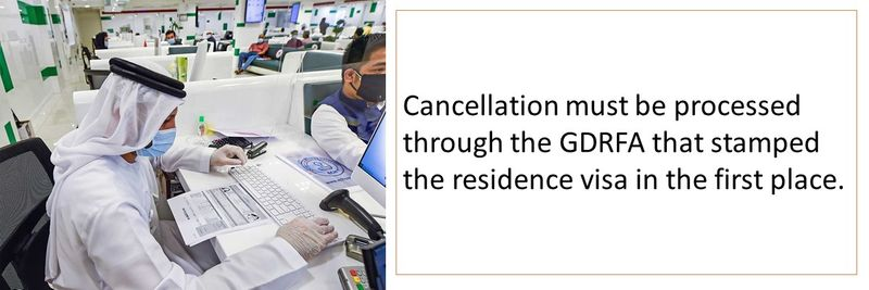 Cancellation must be processed through the GDRFA that stamped the residence visa in the first place.