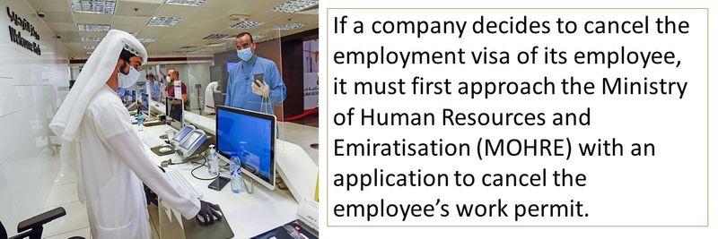 Cancelling an employment visa