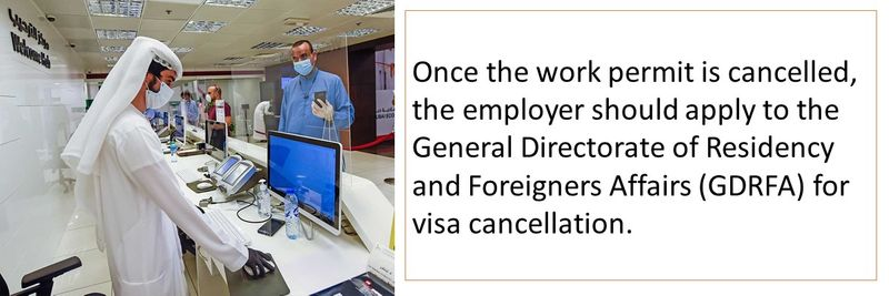 The work permit is then cancelled by MOHRE