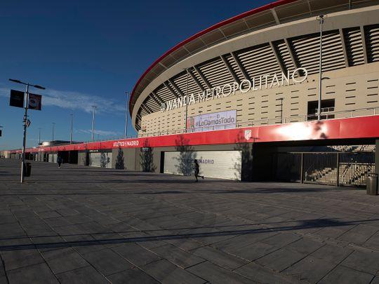 Atletico Madrid's Wanda Metropolitano stadium is desterted as players haev tested COVID-19 positive