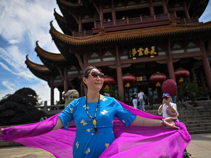 A woman visiting the Yellow Crane Tower in Wuhan.