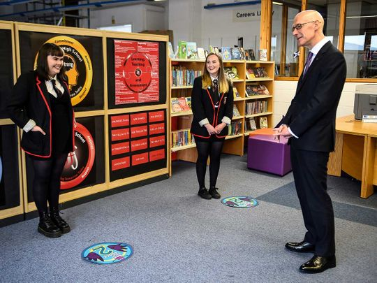Deputy First Minister of Scotland and Cabinet Secretary for Education and Skills John Swinney visits Stonelaw High School