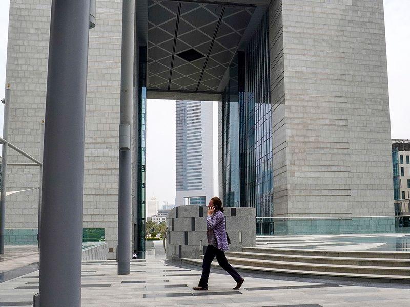 Stock DIFC gate Dubai
