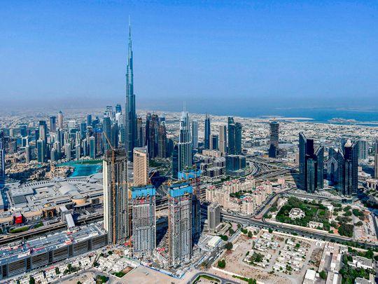 Stock aerial Dubai skyline