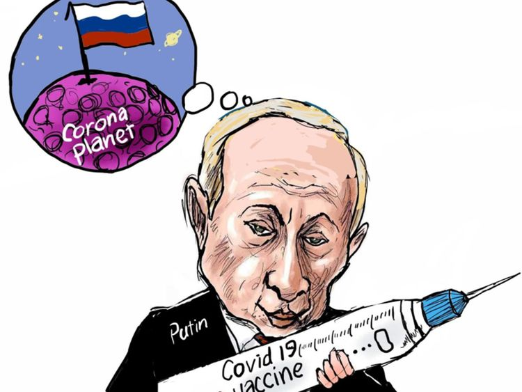 Resultado de imagen de putin vaccine cartoon