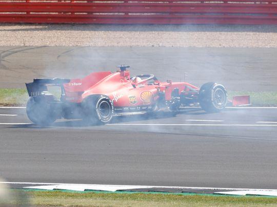 Sebastian Vettel spins at Silverstone