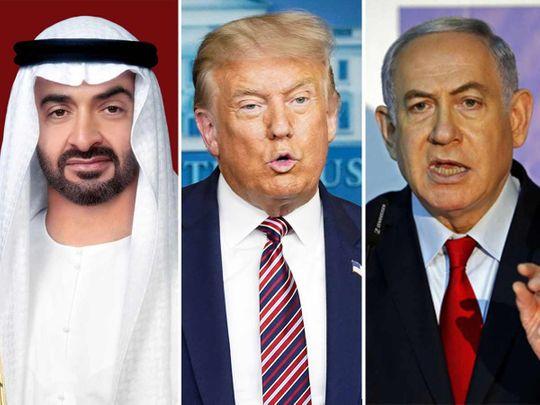 Shekh Mohamed, Donald Trump y Netanyahu