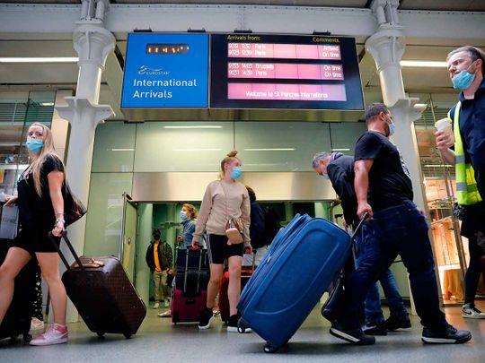 Arrivals facemasks UK London airport