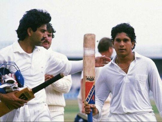 Sachin Tendulkar celebrates his maiden century for India