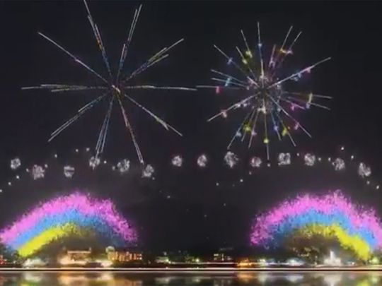 The Olympic firework display in Tokyo Bay
