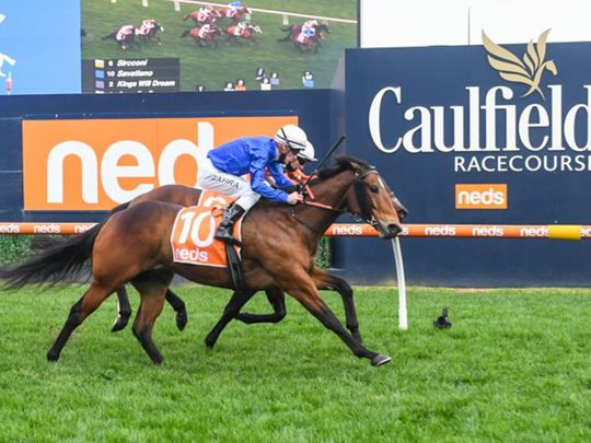 Godolphin's Savatiano wins the PB Lawrence Stakes at Caulfield Racecourse