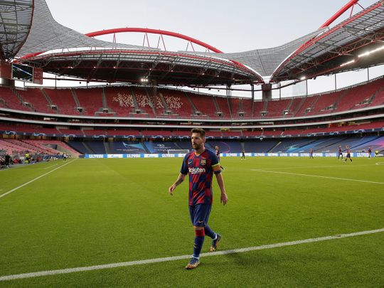 Lionel Messi leaves the field at the Estadio da Luz, Lisbon, after the 8-2 loss to Bayern Munich