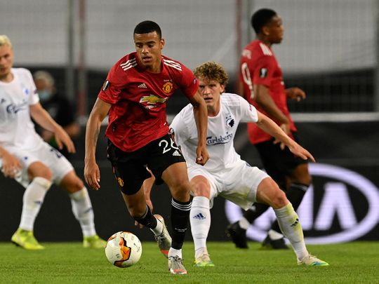 Manchester United's Mason Greenwood in action against Copenhagen in the Europa League