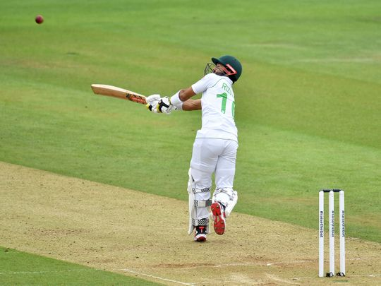 Pakistan's Mohammad Rizwan bats during the second day of the second Test match against England at Southampton