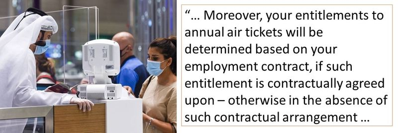 Entitlements like annual air tickets are determined based on contract