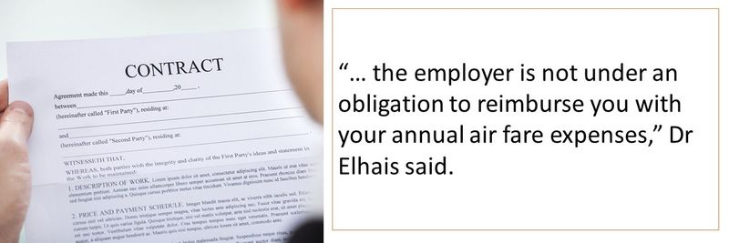 If the contract doesn't state so, employer is not obligated to reimburse ticket cost.