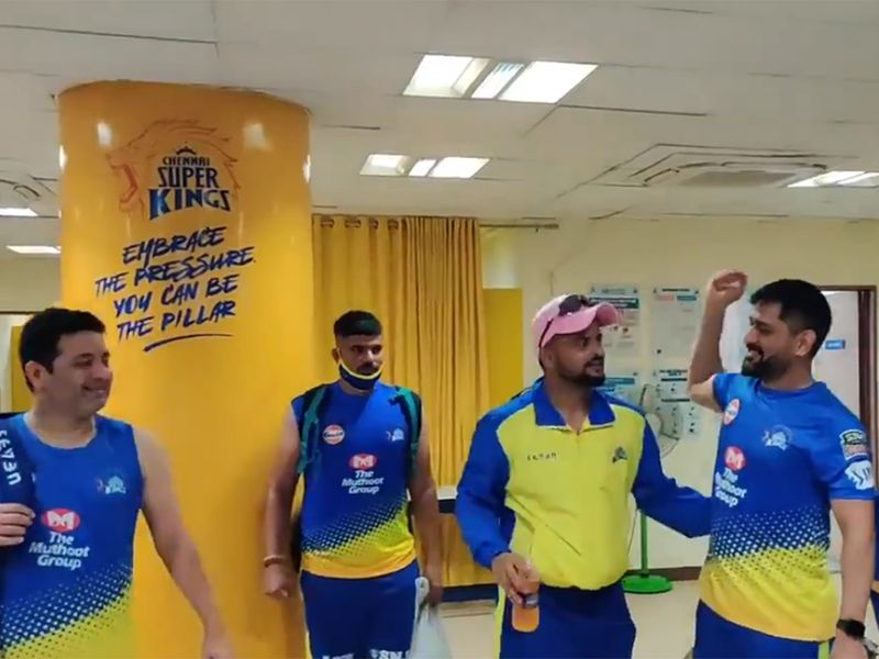 MS Dhoni greets his Chennai Super Kings teammates in the video