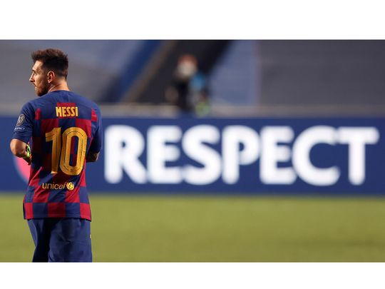 Lionel Messi during the 8-2 loss to Bayern Munich