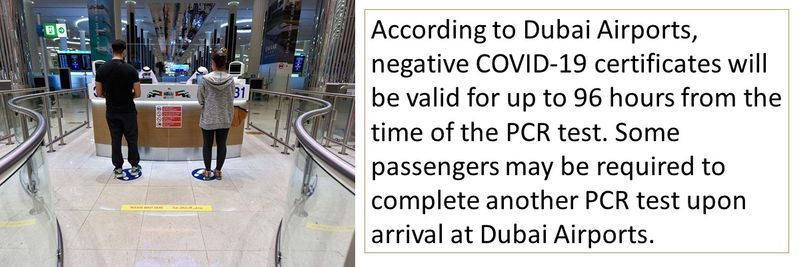 According to Dubai Airports, negative COVID-19 certificates will be valid for up to 96 hours from the time of the PCR test.