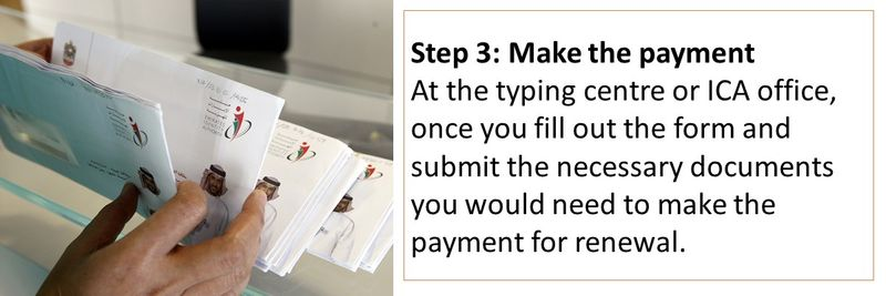 At the typing centre or ICA office, once you fill out the form and submit the necessary documents you would need to make the payment for renewal.