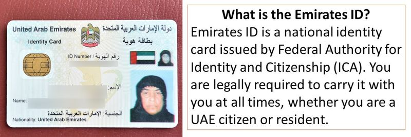 Emirates ID is a national identity card issued by Federal Authority for Identity and Citizenship (ICA).