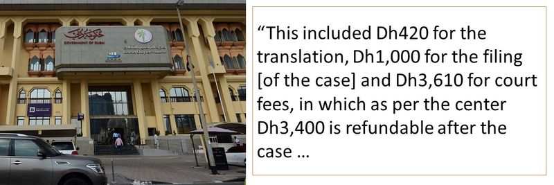 Dh420 for the translation, Dh1,000 for the filing [of the case] and Dh3,610