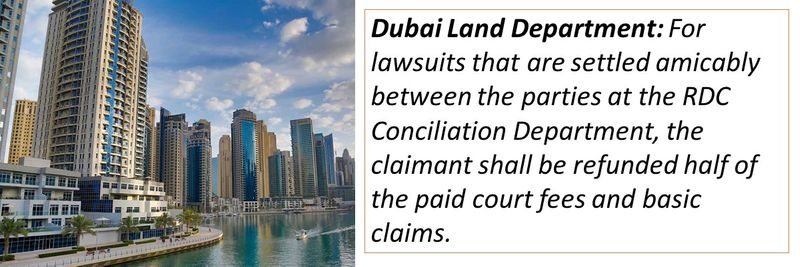 Dubai Land Department: For lawsuits that are settled amicably between the parties at the RDC Conciliation Department, the claimant shall be refunded half of the paid court fees and basic claims.