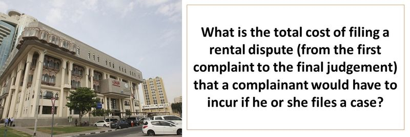 What is the total cost of filing a rental dispute (from the first complaint to the final judgement) that a complainant would have to incur if he or she files a case?