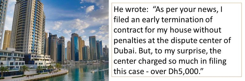"""to my surprise, the center charged so much in filing this case - over Dh5,000."""""""