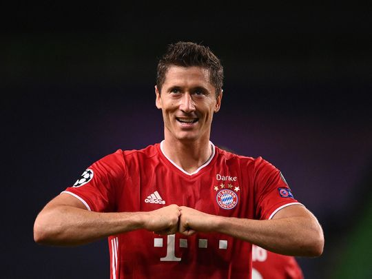 Bayern Munich's Robert Lewandowski celebrates against Lyon in the Champions League semi-finals