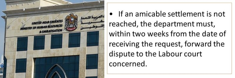 If an amicable settlement is not reached, the department must, within two weeks from the date of receiving the request, forward the dispute to the Labour court concerned.