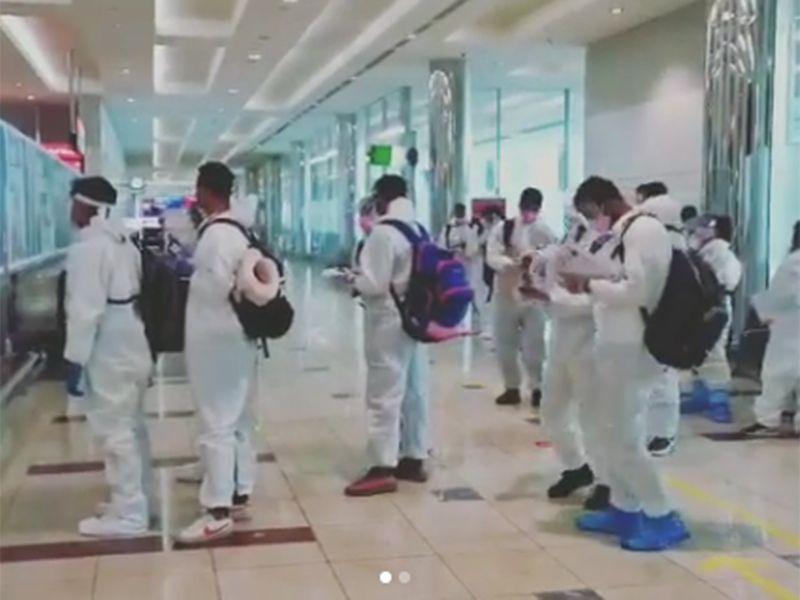 Rajasthan Royals players in Dubai Airport