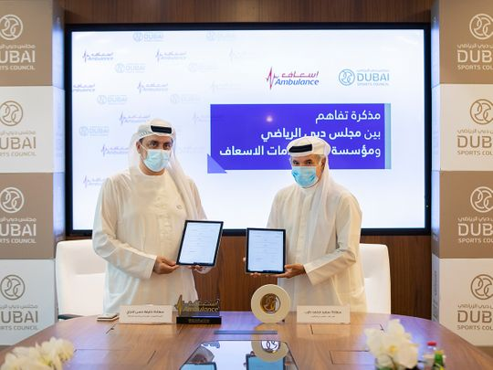 The Dubai Sports Council and Dubai Corporation for Ambulance Services have signed a Memorandum of Understanding which will see the two parties cooperate in sports events to ensure the safety and health of participants.