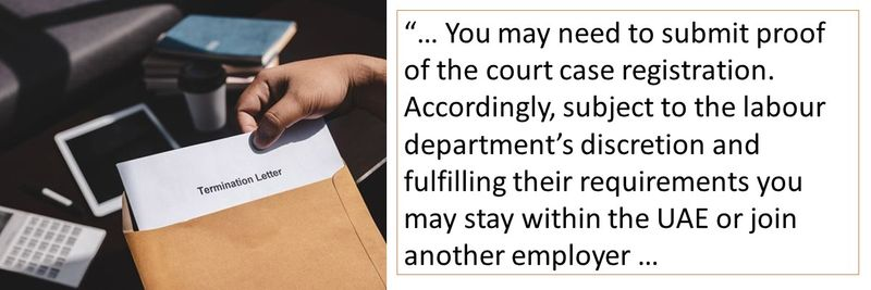 You may need to submit proof of the court case registration. Accordingly, subject to the labour department's discretion and fulfilling their requirements you may stay within the UAE or join another employer