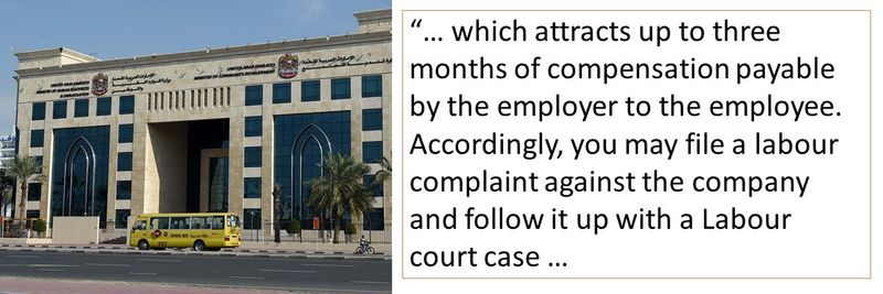 which attracts up to three months of compensation payable by the employer to the employee. Accordingly, you may file a labour complaint against the company and follow it up with a Labour court case