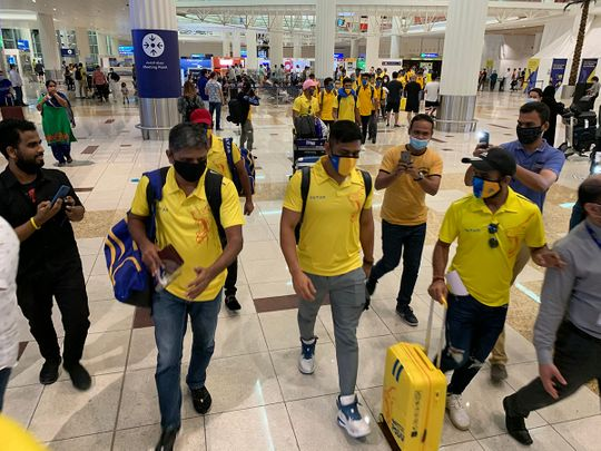 MS Dhoni, the Chennai Super Kings captain, arrives in Dubai