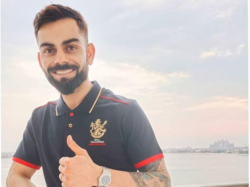 RCB's Virat Kohli gives the thumbs up in Dubai