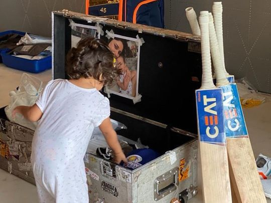 Samaira helps dad Rohit Sharma pack for Mumbai Indians bag for the IPL in the UAE