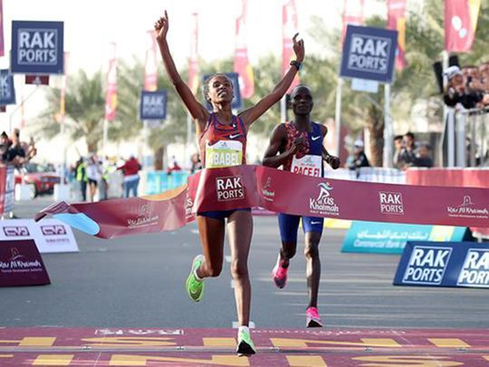 Ababel Yeshaneh wins the RAK Half-Marathon