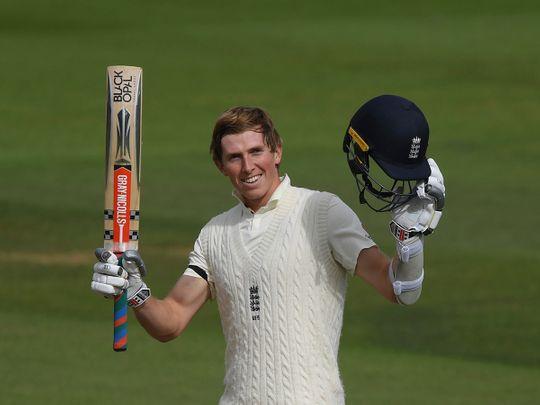 England's Zak Crawley celebrates his century against Pakistan