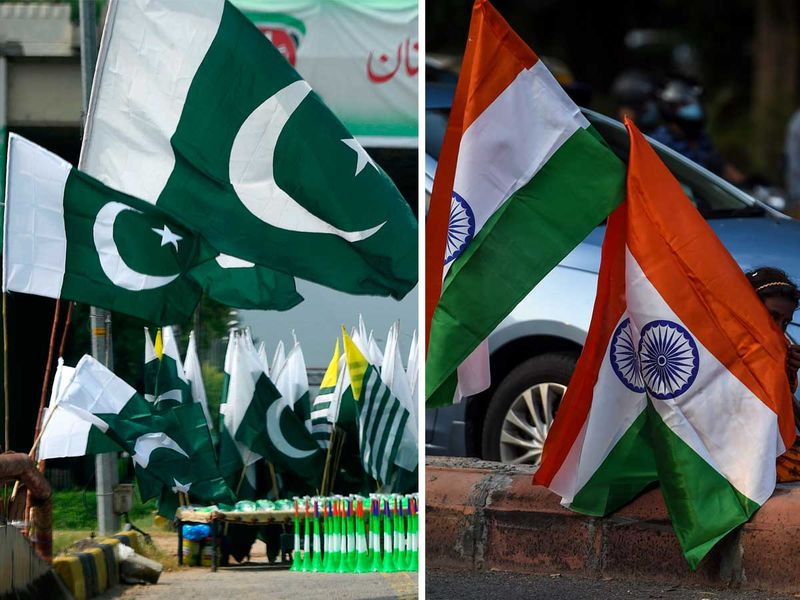 Flags of Pakistan and India