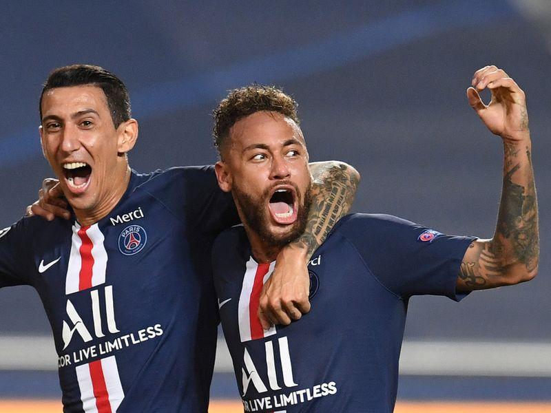 Paris St-Germain's Neymar celebrates reaching the Champions League final with Angel Di Maria